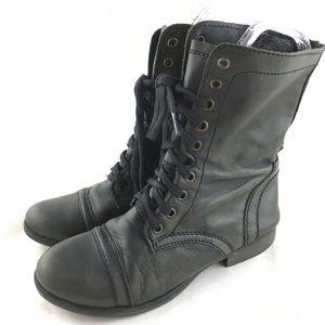 Steve Madden Troopa combat boot black leather zip